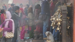 Devotees waiting for entry hindu temple,Patan,Nepal Stock Footage