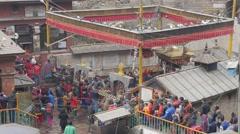 Pilgrim crowds waiting for entry Hindu Kali Temple,Dakshinkali,Nepal Stock Footage