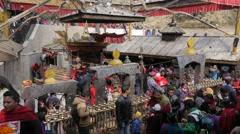 Busy crowds around Kali temple,Dakshinkali,Nepal Stock Footage