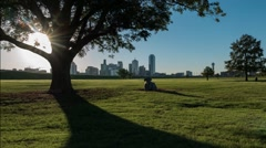 Dallas skyline Time-lapse sunrise & shadows from park w/cow statue Stock Footage
