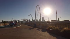 Margaret Hunt HIll Bridge walking hyperlapse w/ Dallas skyline Stock Footage