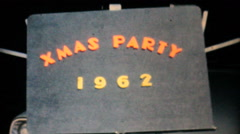 Christmas Party Title Sequence-1962 Vintage 8mm film Stock Footage