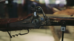 Musket Gun. Close up. Museum exhibit Stock Footage