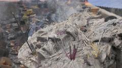 Burned inscence sticks,Dakshinkali,Nepal Stock Footage