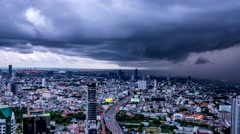 Rain storm covers Bangkok zoom out.  Stock Footage