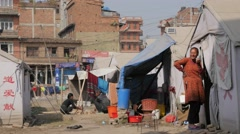 People in refugee tent camp,Bhaktapur,Nepal Stock Footage