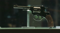 Gun Revolver. Museum exhibit Stock Footage
