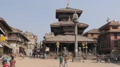 Dattatreya Temple on Tachupal Tole square,Bhaktapur,Nepal Stock Footage