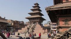 Nyatapola Pagoda on Taumadhi Tole square,Bhaktapur,Nepal Stock Footage