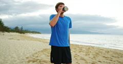 Athletic Man Drinking Sports Drink Stock Footage