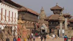 Damaged Durbar square,Bhaktapur,Nepal Stock Footage