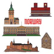 Historic buildings and sightseeings of Norway Stock Illustration