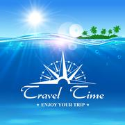 Travel Time poster. Enjoy Your Trip banner Piirros