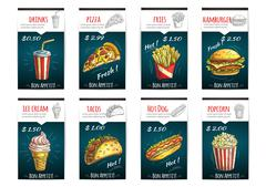 Fast food menu price posters with description Stock Illustration