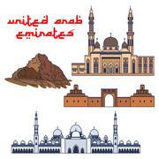 Historic architecture of United Arab Emirates Stock Illustration