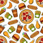 Fast food snacks, drinks seamless background Piirros