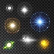 Shining star and sun light with lens flare effect Stock Illustration