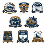Hunting club icons. Outdoor adventure emblems Stock Illustration