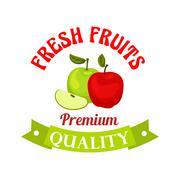Fresh apple. Premium quality fruits sticker Stock Illustration