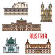 Historic buildings and architecture sightseeings of Austria Stock Illustration
