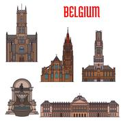 Historic buildings and architecture of Belgium Stock Illustration