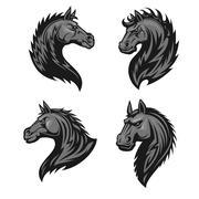 Raging stallion head heraldic icons set Stock Illustration