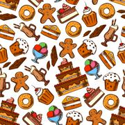 Cakes, coffee and ice cream seamless pattern Stock Illustration