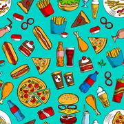 Fast food snacks, drinks, dessert seamless pattern Piirros