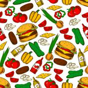 Fast food burger with ingredients seamless pattern Stock Illustration