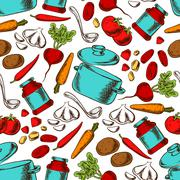 Cooking seamless pattern with ingredients Stock Illustration