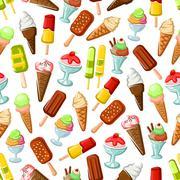 Chocolate and fruit ice cream seamless pattern Stock Illustration