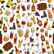 Aperitif drinks and cocktails seamless pattern Stock Illustration
