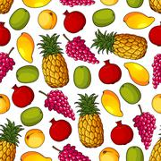 Seamless pattern of healthy fresh fruits Stock Illustration