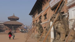 Poles supporting museum on Durbar square,Bhaktapur,Nepal Stock Footage