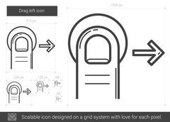 Drag right line icon Stock Illustration