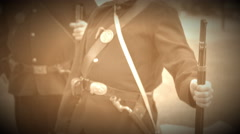 Two Civil War soldiers leaning on their rifles (Archive Footage Version) Stock Footage