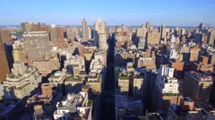 Aerial descent apartments in New York Stock Footage