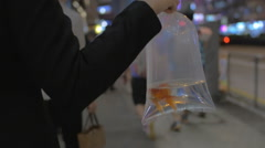 Woman with fish in plastic bag on city street Stock Footage
