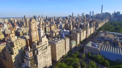 Aerial central park and the Metropolitan Museum of Art Stock Footage