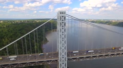 Aerial footage of the GW Bridge NY Stock Footage