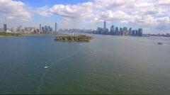 Aerial tour Ellis Island Stock Footage