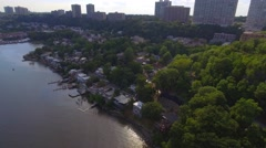 Aerial video Edgewater homes New Jersdey Stock Footage