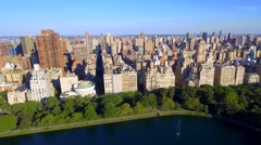 Aerial video luxury apartments by Central Park Stock Footage