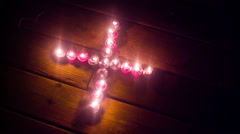 Strange candles prayer night candle Stock Footage