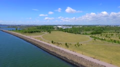 Aerial video Liberty State Park New Jersey Stock Footage