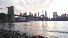 NYC skyline - establishing shot - sunset Stock Footage