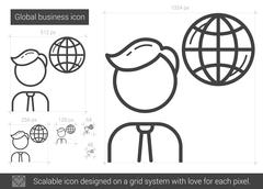 Global business line icon Stock Illustration