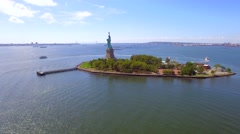 Amazing aerial video of the Statue of Liberty 2016 Stock Footage