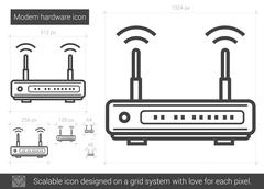 Modem hardware line icon Stock Illustration