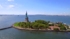 Helicopter tour Statue of Liberty New York Stock Footage